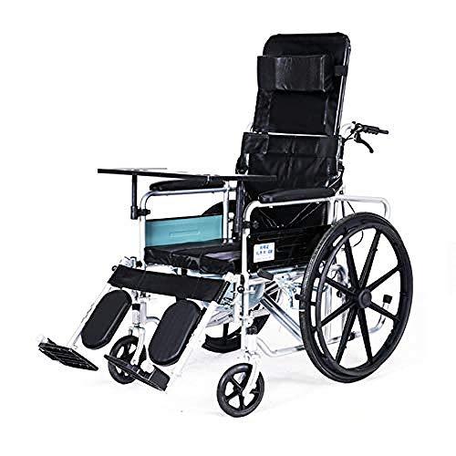 lHishop Mobiler Toiletten-Duschstuhl Für Rollstühle Abnehmbare Fußstützen Und Höhenverstellbare Beinstützen Gepolsterte Armlehnen,Oxfordcloth
