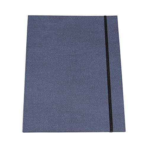 Bigso box of sweden - cartella portadocumenti, formato a4, con elastico, in pannello di fibra e carta effetto lino, colore: blu blu