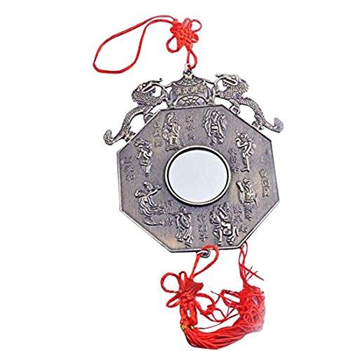 Bagua Spiegel Feng Shui Pakua/12.45 cm, Mit Zwei Drachen mit Schnur Armband Y1379 Mxsabrina Rot