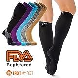 Bas de contention unisexe - A hauteur du genou - Soulage les douleurs des mollets, jambes et pieds - Compression graduée pour améliorer la circulation sanguine et réduire les œdèmes/gonflements - Conforme aux exigences de la FDA - Idéal pour les infirmières et les coureurs