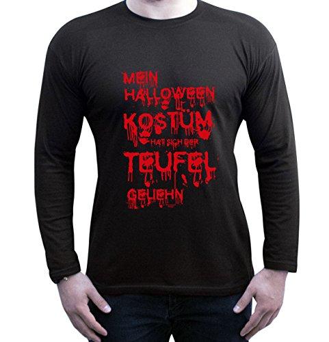 Extrem Cooles Herren Halloween-Langarm-Fun-Shirt als Geschenke-Idee Motiv: Mein Halloween Kostüm hat sich der Teufel geliehn Farbe: schwarz Gr: XL