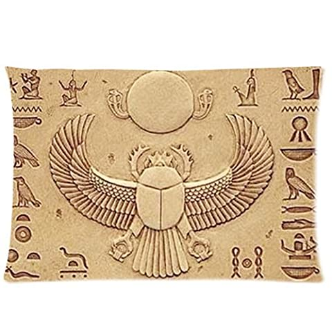 Ancient Egypt Scarab Fresco Background Comfortable Cotton&Polyester Pillowcase/Pillow slip/Cushion case/pillow cover(Two Side Printing,30inch*20inch)