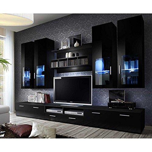 Paris Prix - Meuble TV Mural Design Lyra 300cm Noir