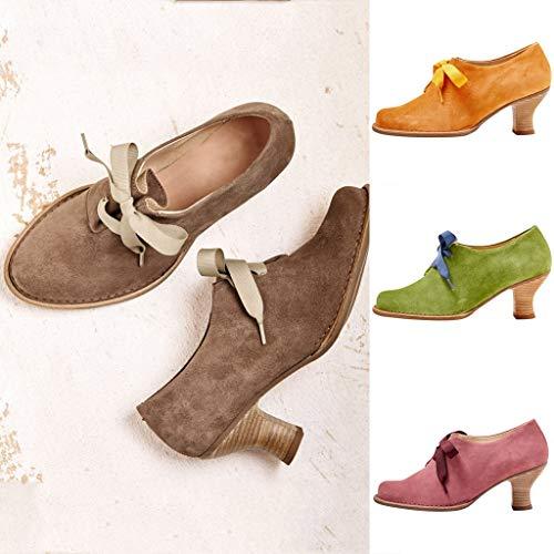 Floweworld Damen Slip-On Lace-Up Pump Vintage Wildleder Stiefeletten Einfarbig Lässig Quadratisch Med Ferse Schuhe Elegantes Kleid Schuhe