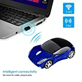 #8: Microware Sports Car Shape Wireless Mouse 2.4GHz Wireless 3D Sports Racing Car Shaped Optical PC Mouse USB Laptop Tablet Mouse Computer Cordless Gaming Mouse for Home Office (Blue)