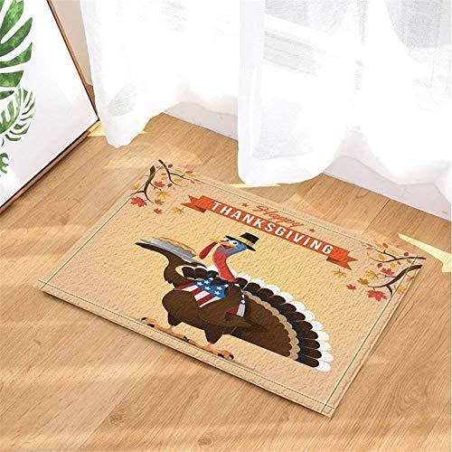 LTZDZ Frohes Thanksgiving. Rote Ahornblätter. Die Türkei Mit Einem Hut. Türmatte, Badezimmermatte, Küchenmatte, rutschfest, Plus Samt, 40X60Cm. (Türkei Hat Thanksgiving-die)