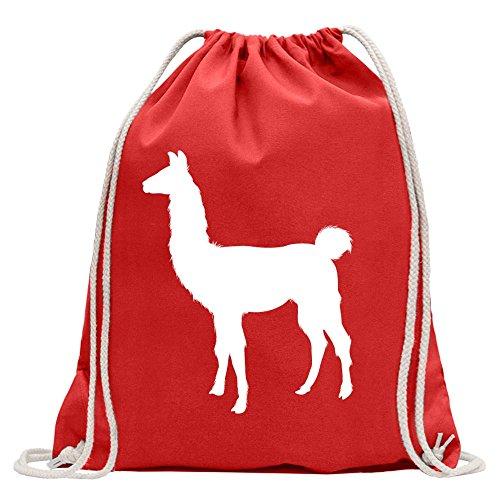 KIWISTAR - Lama Alpaca Kamel Turnbeutel Fun Rucksack Sport Beutel Gymsack Baumwolle mit Ziehgurt Rot