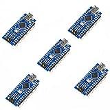 KOOKYE 5PCS Nano V3.0 ATMEGA328P Module CH340G 5V 16M Mini USB Micro-controller Board for Arduino