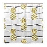 BALII Ananas und Duschvorhang, Gestreift, 182,9x 182,9cm Polyester Wasserdicht mit 12Haken für Badezimmer