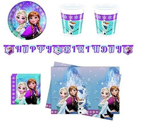 Frozen Northern Lights - Partyset für 24 Kinder (24 Teller, 24 Becher, 40 Servietten, 1 Tischdecke, 1 Happy-Birthday Banner)
