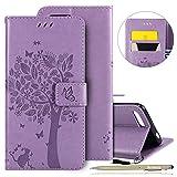 Herbests Handy Schutzhülle für Huawei Honor 10 Handyhülle Luxus Schmetterling Blumen Muster LederHülle Bookstyle Klappbar Brieftasche Leder Tasche Flip Wallet Case Handy Tasche,Lila
