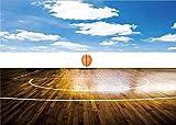 YongFoto 1,5x1m Creative Basketball Court Hintergrund Blue Sky White Cloud Gloomy Streifen Holz Boden Hintergründe die Fotografie Jungen Studenten Sport Meeting Spiel Foto Hintergrund Studio