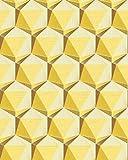 Carta da parati stile retro EDEM 1050-11 Carta da parati in vinile leggermente strutturata con forme geometriche sottilmente lucida avorio giallo-limone giallo-ocra 5,33 m2