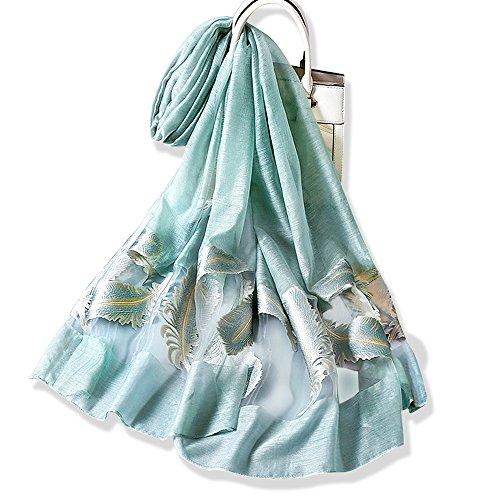 Yfzyt donna moda organza morbida sciarpa scialle collo avvolto foulard, anti-uv piuma ricamo modello chiffon sciarpa di seta scialle - verde acqua