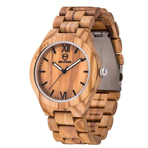 MUJUZE Herren Analoge Quarz Holzkern Armbanduhren mit Olivenholz Band und Leuchtendem Zeiger ME1001Olive Wood - 4