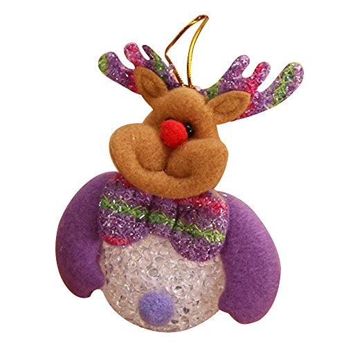 Eizur Natale Alce LED Luce Bambola Giocattolo Ornamenti Albero di Natale Appeso Decorazioni Xmas Casa Decor Bambini Regalo Taglia 9*10cm