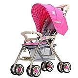 Baobcher Cochecitos para niños Ligeros Sistema de Viaje Plegable para Sentarse con sombrilla y Comodidad (Color : Pink)