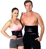 PREMIUM Fitnessgürtel Set – inklusive Gratis Tragetasche und E-Book – hochwertiger Bauchweggürtel mit einzigartiger 3-Lagen Technologie – slimmer belt zum Abnehmen und Muskeln aufbauen - Bauchmuskelgürtel (pink)