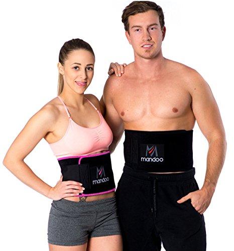 mandoo Premium Fitnessgürtel Set – inklusive Gratis Tragetasche und E-Book – hochwertiger Bauchweggürtel mit einzigartiger 3-Lagen Technologie – Slimmer Belt zum Abnehmen - Bauchmuskelgürtel (pink)