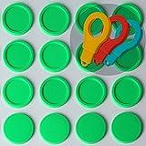 SchwabMarken 500 Einkaufswagenchips EKW2 Pfandmarken Wertmarken Farbe Neon-Grün, Randmarken + 3 Chiphalter für Schlüsselbund