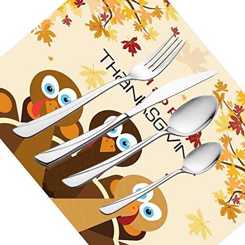 30-teiliges Besteckset, Türkei Geschirr Besteckset aus Edelstahl für 6 Personen Einschließlich Messer, Gabeln, Löffel, Teelöffel und Tischset, Happy Thanksgiving mit fallenden Blättern und P