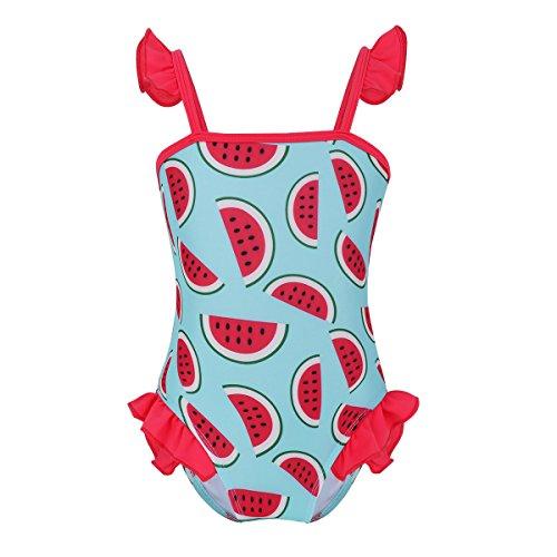 iiniim Baby Mädchen Badebekleidung Einteiler Badeanzug Säugling Bademode Tankini Bikini Mit Rüschen Für 0-24 Monate Rot&Himmel Blau 50-56/0-3 Monate