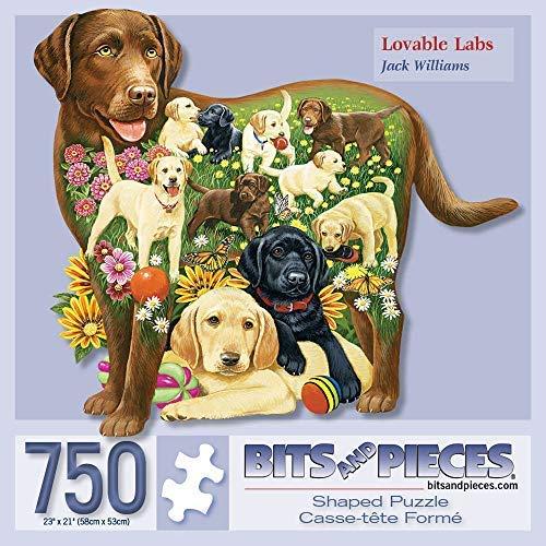 Bits and Pieces 750 Stück geformt Puzzle Liebenswert Labs, Labrador-Hund Welpen von Künstler Jack Williams 750 Pc Jigsaw - Puzzle Jig Hund Saw