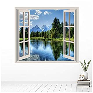 azutura Mountain Lake 3D Window Wall Sticker Forest Landscape Wall Decal Bedroom Decor available in 8 Sizes Gigantic Digital