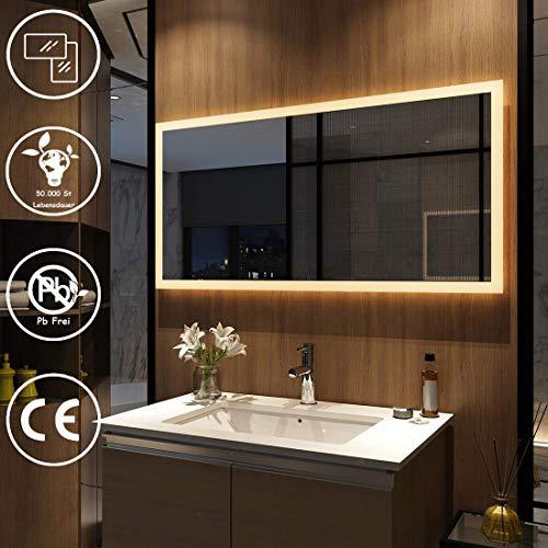 Meykoers Wandspiegel Badezimmerspiegel LED Badspiegel mit Beleuchtung 120x60cm Warmweiß 3000K, Spiegel mit Beleuchtung Lichtspiegel durch Wand-Schalter