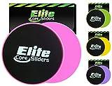 Elite Sportz 2 Discos Deslizantes para abdominales sliders ejercicio - deslizadores son de doble cara para su uso en alfombras y pisos de madera (Rosado)
