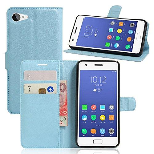Tasche für Lenovo ZUK Z2 (5 zoll) Hülle, Ycloud PU Ledertasche Flip Cover Wallet Case Handyhülle mit Stand Function Credit Card Slots Bookstyle Purse Design blau