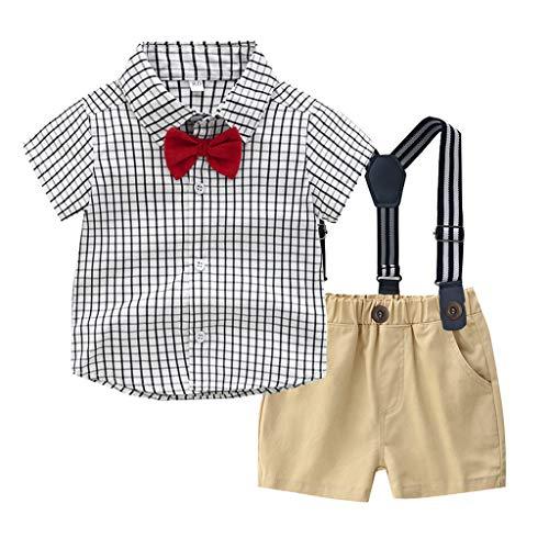 Hawaii Hochzeit Shirts (TTLOVE Sommer Kinder Kleidung Kleinkind Baby Boys Gentleman Fliege Gestreiften Plaid T-Shirt Tops + Shorts Overalls Outfits Festliche Taufe Hochzeit FüR Jungen Bekleidungssets (Grau,70))