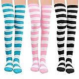 Damen Kniestrümpfe - Overknee Strümpfe Streifen Lange Socken Retro Knitting Strümpfe Mädchen Cheerleader Sportsocken Baumwollstrümpfe