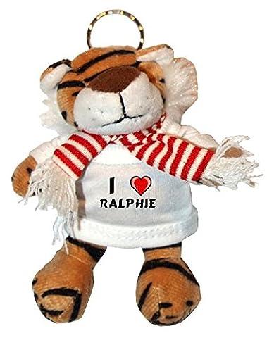 Plüsch Tiger Schlüsselhalter mit T-shirt mit Aufschrift Ich liebe Ralphie (Vorname/Zuname/Spitzname)