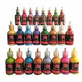 Tissu Peinture 24 couleurs Premium Qualité 3D permanente couleur vibrante peintures teintes pour tissu, toile, bois, céramique, verre par Artisanat 4 ALL...