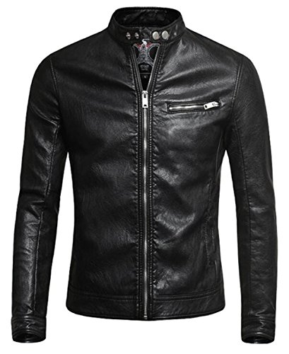 moxishop Herren Biker Kunstleder Lederjacke Punk Motorrad Zip Outwear Faux Leder Jacken Coats