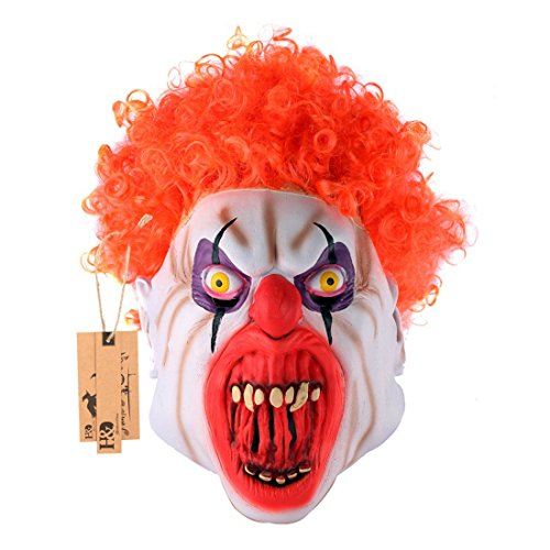 alloween Clown Masken, Creepy Angst oder Funny Clown Latex Maske für Kostüm Party oder Cosplay, rot lockiges Haar Clown Maske ()