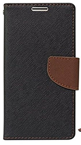 SCHOFIC Premium Fancy Wallet Diary with Card Slots [POCKETS] , Stand View and Magnetic Strap [LOCKING] Faux Leather Flip Stand Back Case Cover for Micromax A114 Canvas 2.2 - Black & Brown  available at amazon for Rs.225