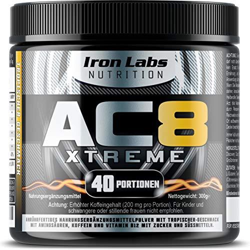 AC8 Xtreme (Tropischer) - HARDCORE Pre-Workout Nahrungsergänzungsmittel | MAXIMUM STRENGTH, 20-40 Portionen | 300 g