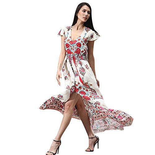 OIKAY Damen Rock Sommer böhmischen Tunika Rock Floral Party Lange Maxi Kleid Strand Sommerkleid