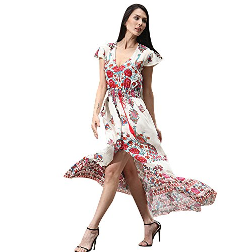 KPILP Women Print Floral Folk-Custom Abendkleider Retro Palace V-Ausschnitt Petticoat Partykleid(Rosa,EU-40/CN-L)