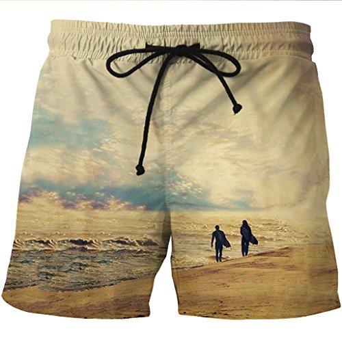 Anguang Herren Große Größen Gedruckt Surfen Boardshorts Strand Schnelltrocknend Kurze Hose mit Taschen Stil 3
