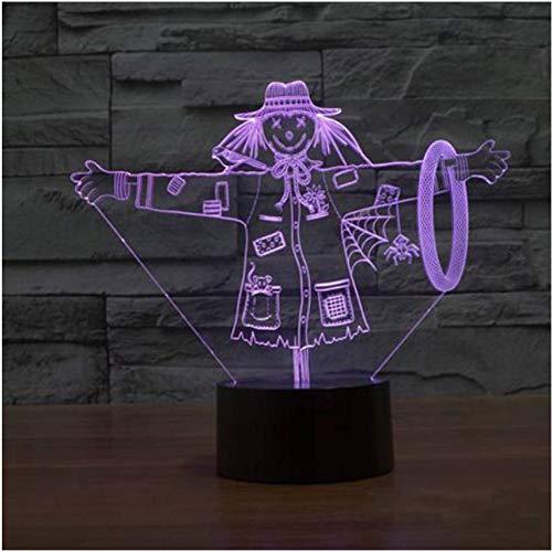 Schöne Vogelscheuche 3D Lampe Mädchen Hut Modell Illusion 3D Lampe Led 7 Farbwechsel Usb Touch Dekorative Beleuchtung Großes Geschenk Für Kinder