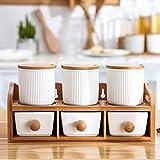 MoMo Home-Chili-Salz-Box Kreative Küche Gewürzdosen Set Keramik Gewürz Flaschen Küche Farbe Glasur Gewürz-Box Set Japanisch Doppel Schublade Sechs Sätze Salz Tank mit Rack,Weiß,Einheitsgröße