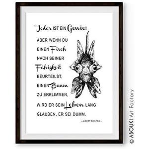 ABOUKI hochwertiger Kunstdruck - ungerahmt - Einstein Zitat