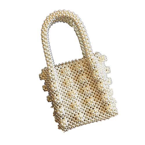WOKJBGE Rattan Tasche Frauen Tasche Perlen Box Totes Tasche Frauen Party Handtasche Sommer Marke Weiß - Single Strap Tote