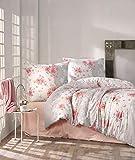 ZIRVEHOME Bettwäsche 200x220 cm. mit 2 mal Kissenbezuge 80x80 cm. Blumen Muster, 100% Baumwolle/Renforcé, Reißverschluss, Model: Zena V1