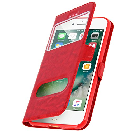 Gemtoo® OPTIMUS-COVER ASTUCCIO CON FINESTRE PER IPHONE 6 / 6S -DIVERSI COLORI DISPONIBILI (Nero) Rosso