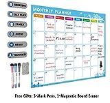 Calendrier magnétique idéal pour la planification de l'étude, les examens, les tâches ou le régime - Le plan de tâches du White Board du réfrigérateur comprend des stylos à effacement sec GRATUIT