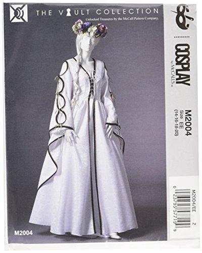 Erwachsene Muster Kostüm Mccalls Für - Cosplay von McCall 's Cosplay M2004EE, bodenlang Kleider mit Schnürung, Größen 14-20, Multi/Farbe